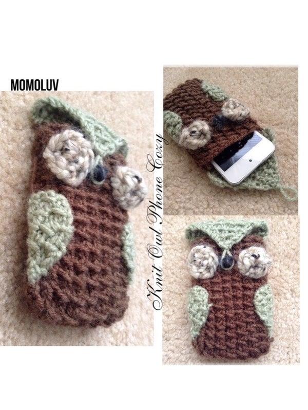 Knit Owl Phone Cozy