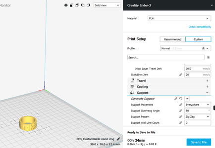 3D Printing Your Custom Ring (30-90 Minutes to Print the Ring)