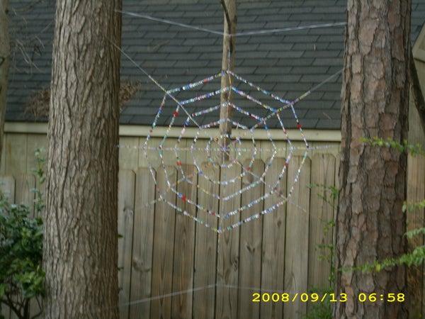 Beaded Spider Web Garden Art