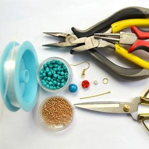 Supplies in Making the Simple Blue Turquoise Beaded Hoop Earrings