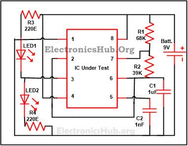 555 Timer IC Testing Circuit