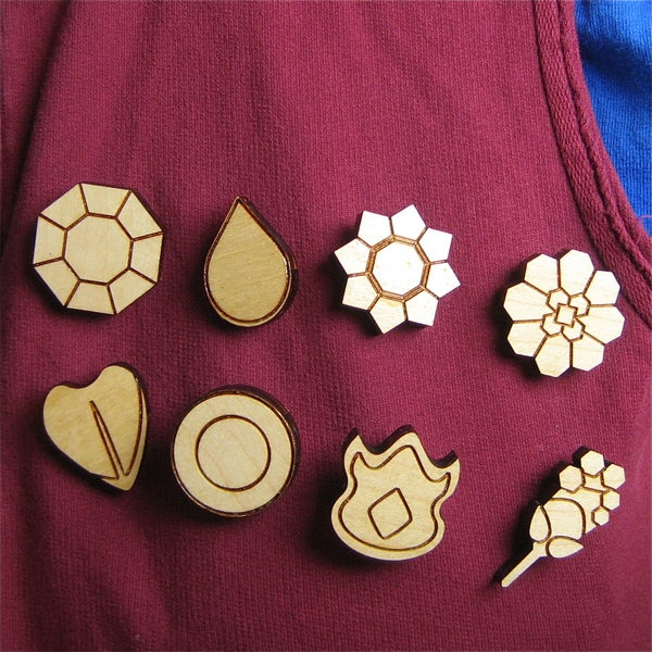 Laser Cut Pokemon Gym Badges