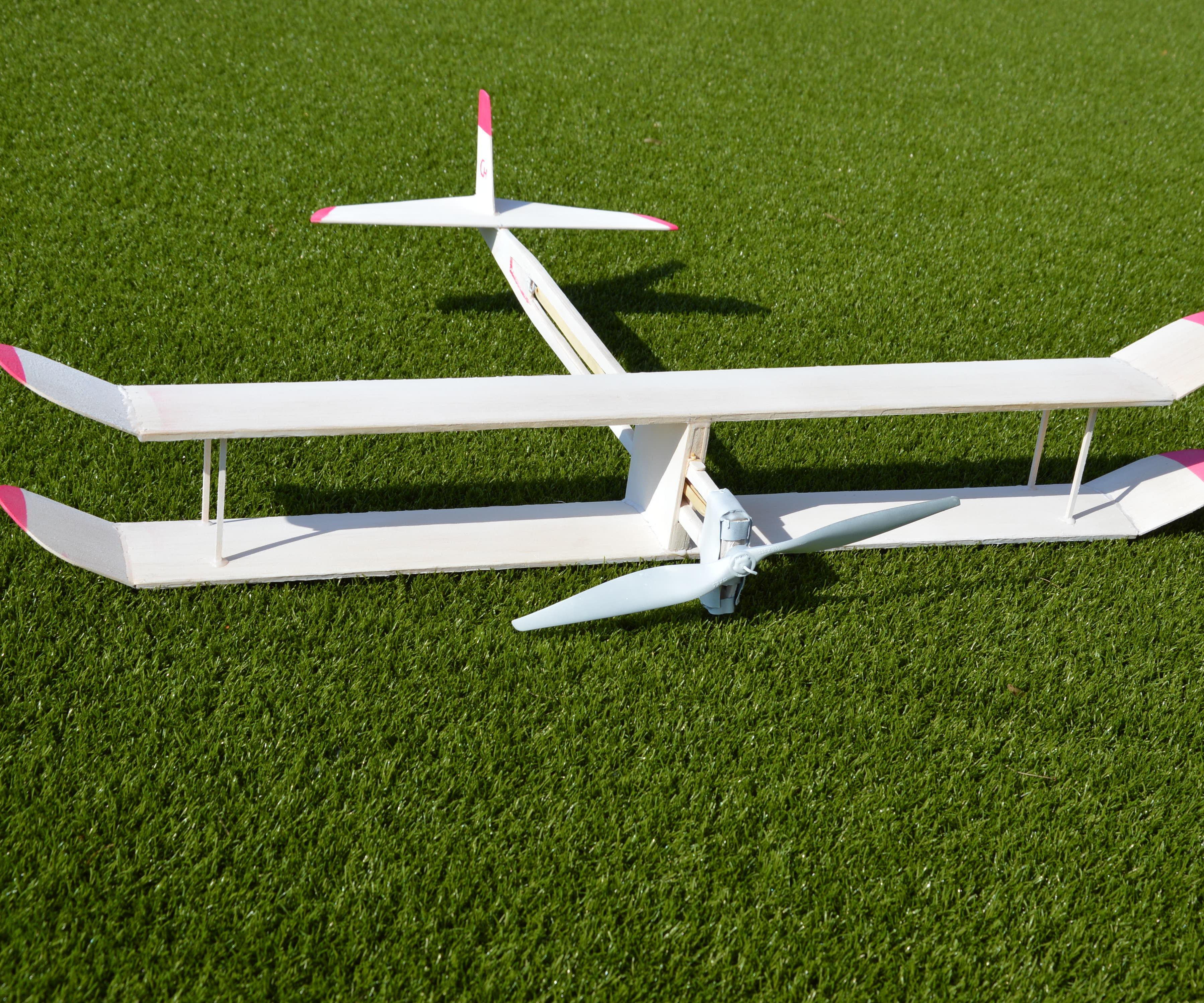 Balsa wood biplane