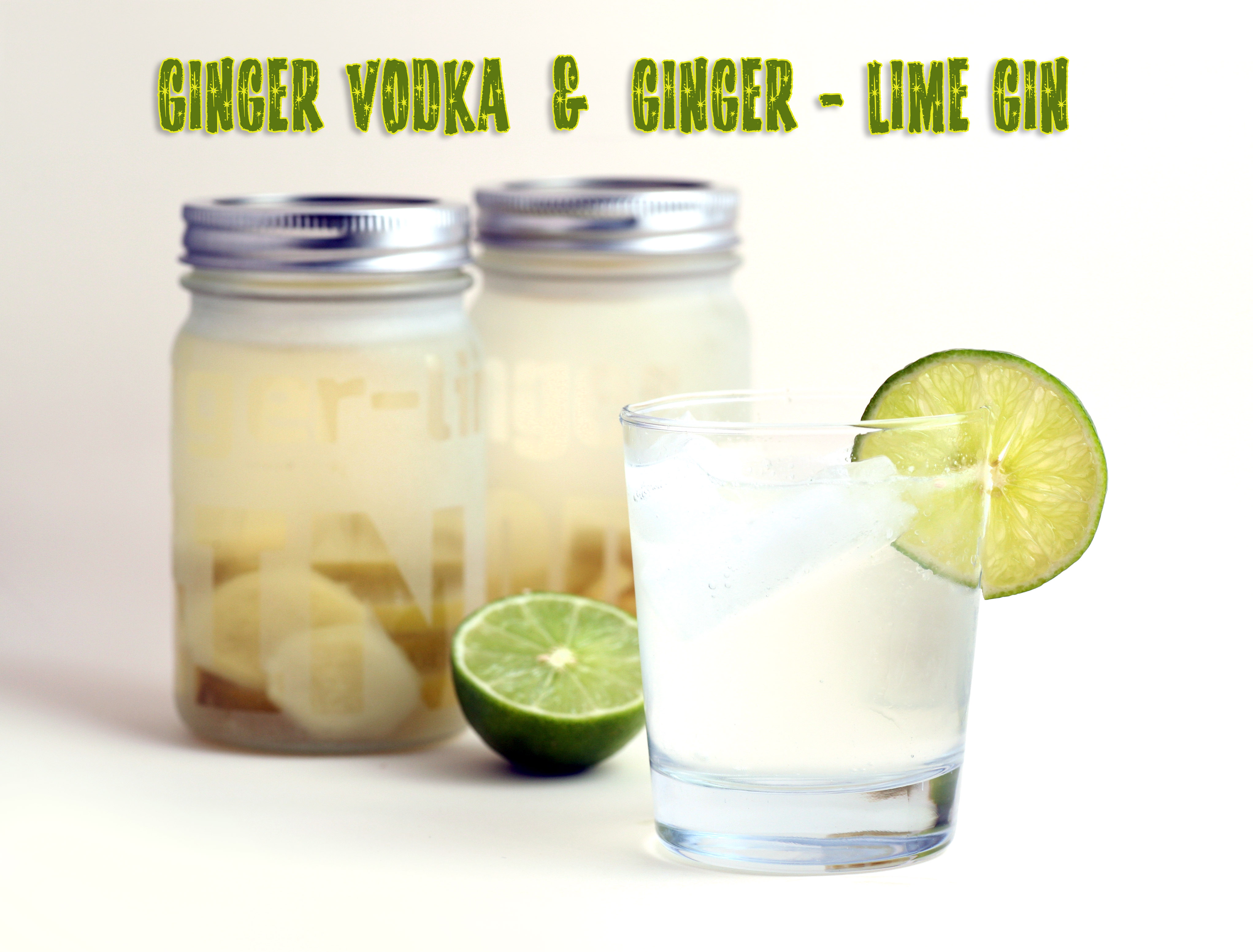 Ginger Vodka in Etched Glass Gift Jars