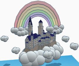Castle in the Sky Scene Using Tinkercad