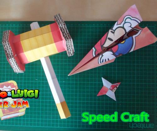 Hammer, Shuriken and Plane Mario Papercraft: Paper Jam Bros