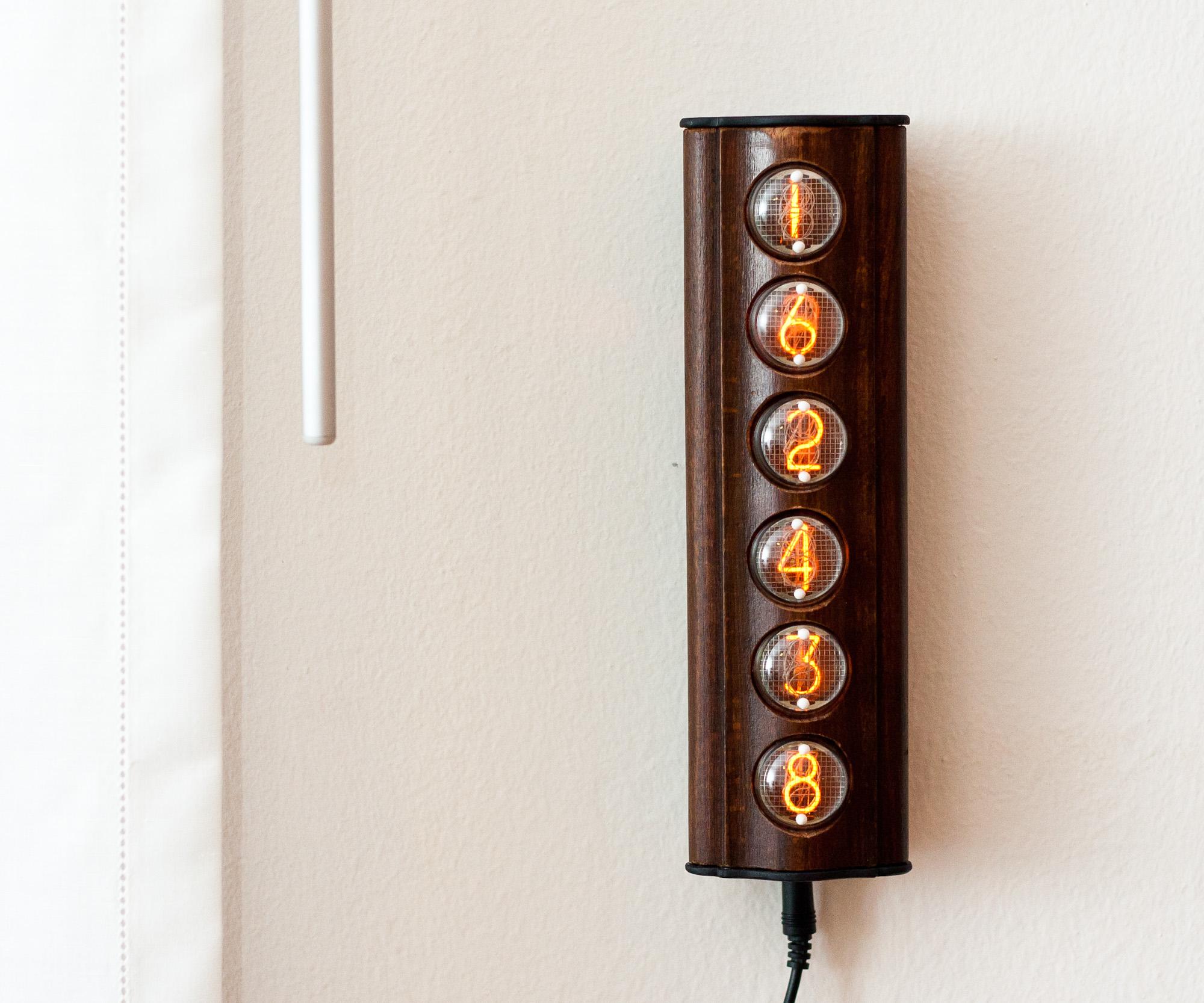vintage style nixie wall clock