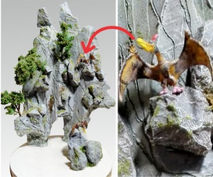 How to Make Jurassic Park Mountain Landscape Diorama | Artificial Fantasy Mountain | Dinosaur Valley