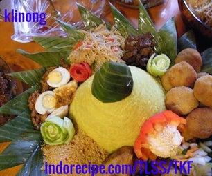 Artistic Indonesian Rice Cone (Nasi Tumpeng)