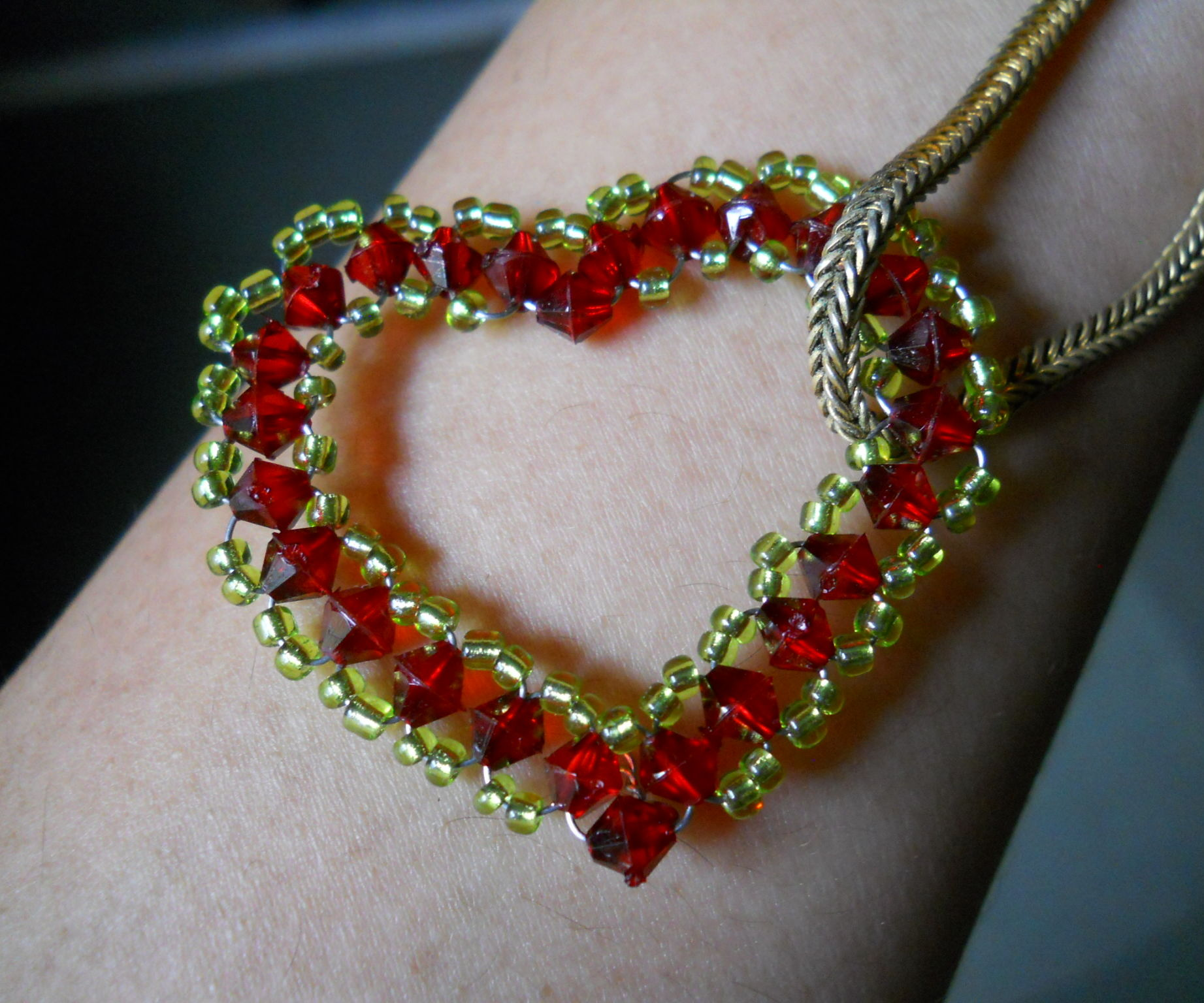 beaded heart shaped pendant