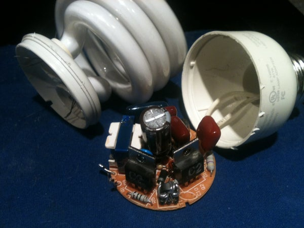 Useful Components in the Base of a Burned Out CFL Light Bulb.