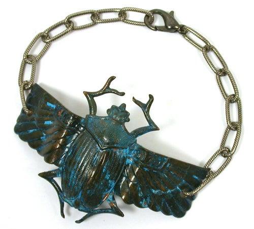 Natural Patina Scarab Bracelet