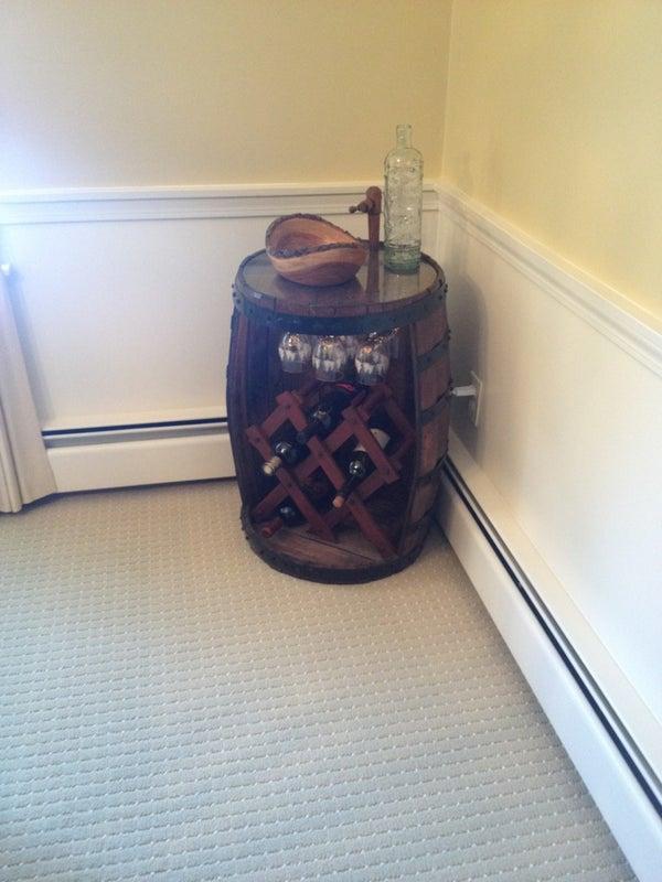 Wine Barrel Into a Wine Rack