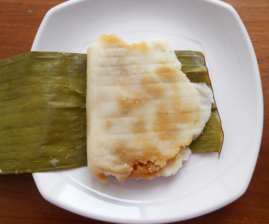 Lightly Roasted Rice Flour Dough Dish With Filling of Coconut