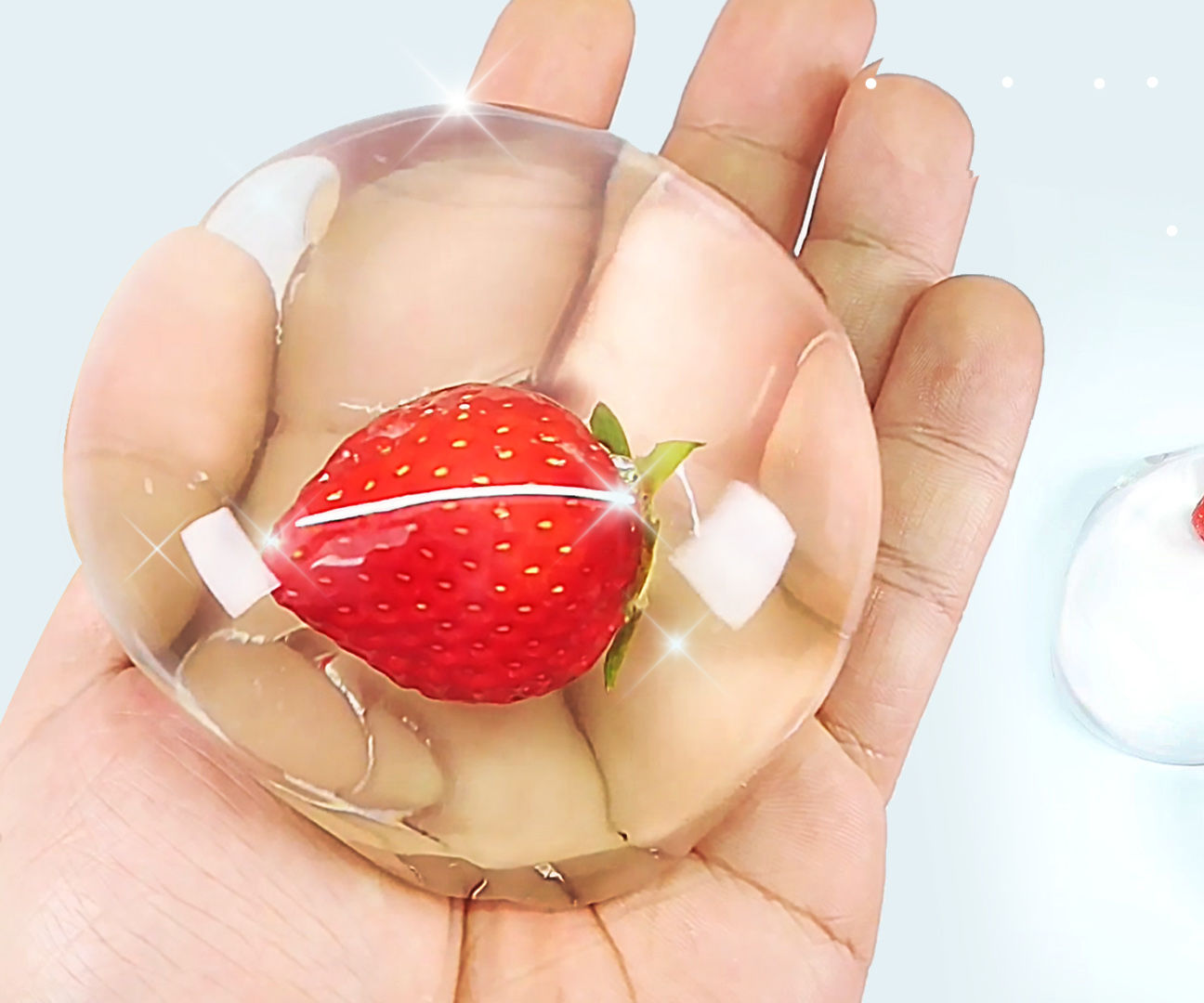 DIY Edible Strawberry RAINDROP CAKE - Water Cake (水信玄餅)