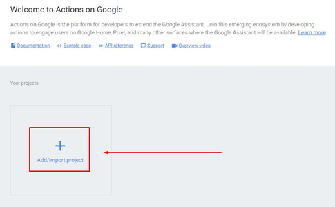 Actions on Google - Import Project: