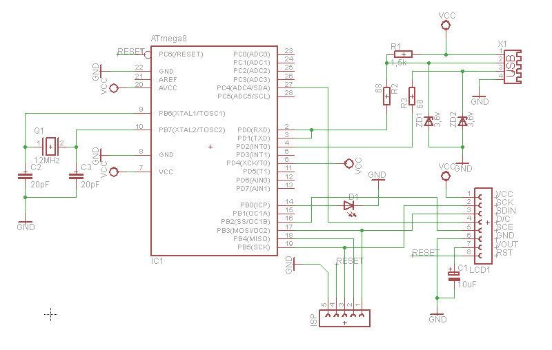 Connecting Nokia 3310 LCD To USB Using AVR 9 Steps - Circuit Diagram Nokia 3310