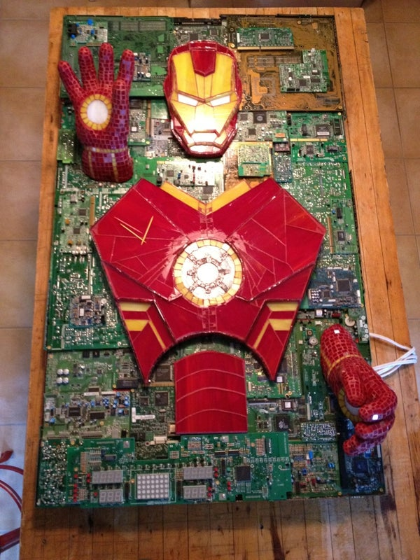 Iron Man Mixed-Media Stained Glass Computer Component Mosaic