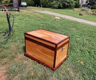 No-waste Plywood Trunk With Lid Storage and Walnut Trim