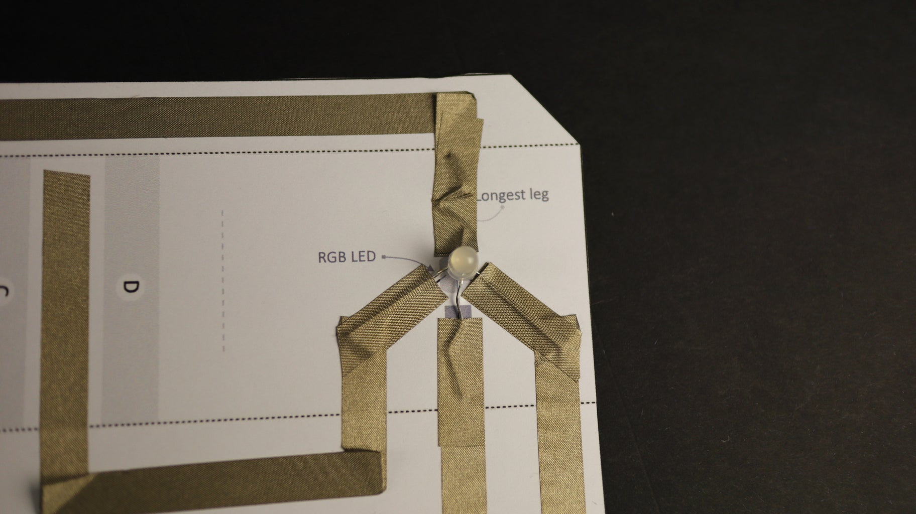 Attach the RGB LED to the Circuit Using Conductive Tape