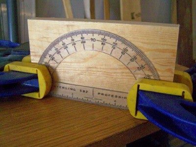 Clamp the Protractor to the Wood