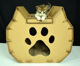 Cardboard Cat House With Scratcher