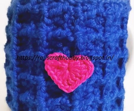 Waffle Stitch Mug Cozy With a Heart Applique