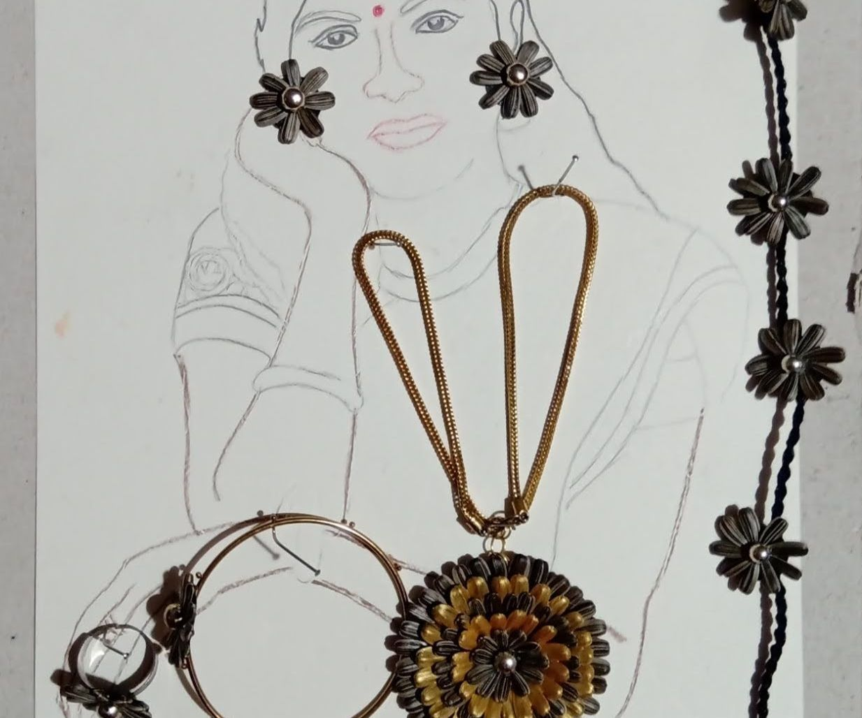 Jewelry(Ear Stud, Neck Piece, Ring, Anklet, Forehead Jewel) Made of Sunflower Seeds!