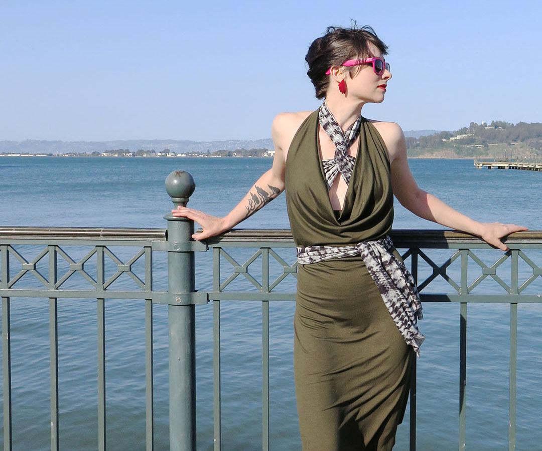 Cowl Draped Infinity Dress