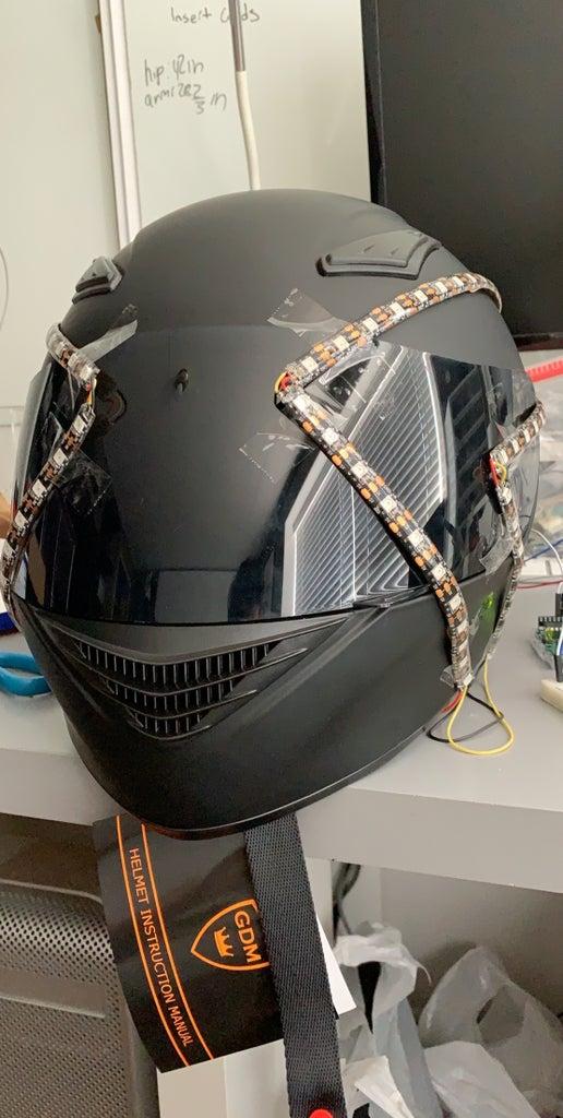 Cut and Solder LEDS to Shape on Helmet