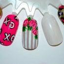 Floral Striped nail art tutorial