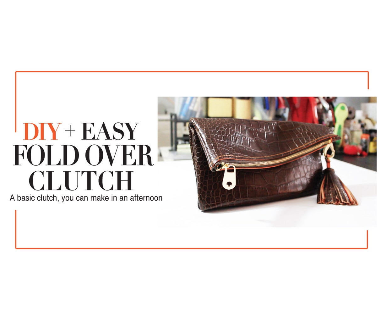 EASY LEATHER FOLD OVER CLUTCH
