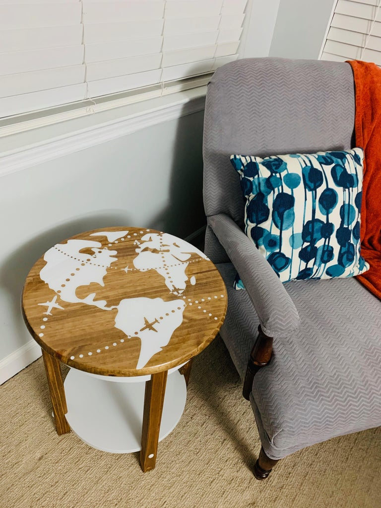 World Map End Table   Made With a Cricut!