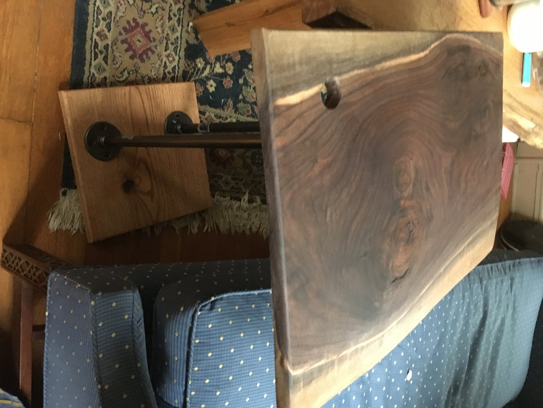 Black Walnut and Oak Modern Sofa Desk