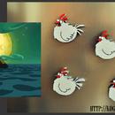 Monkey Island Feral Chicken Fridge Magnets