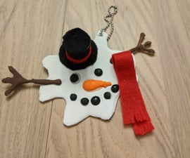 Melted Snowman Ornament With Hot Glue