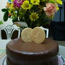 Gooey Chocolate Cake with Ganache Frosting and Vanilla Wafers