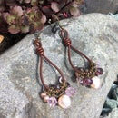 Barrel Knot Leather Earrings With Pearls