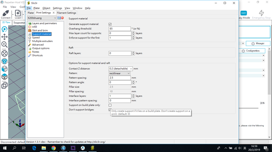 Further Reference : Full Support / Build-plate Support - Setting in Slic3r