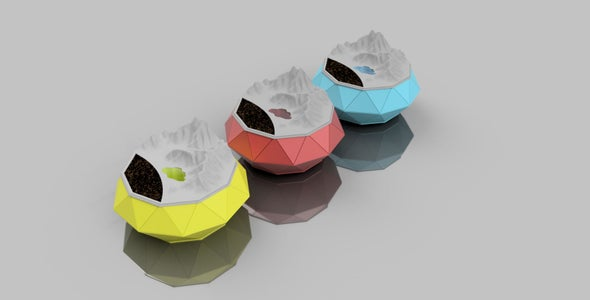 Heritage Planter : Self Watering , Low Poly Planter With Landscaped Lid