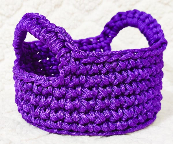 Macrame Cord Crochet Round Basket With Handles