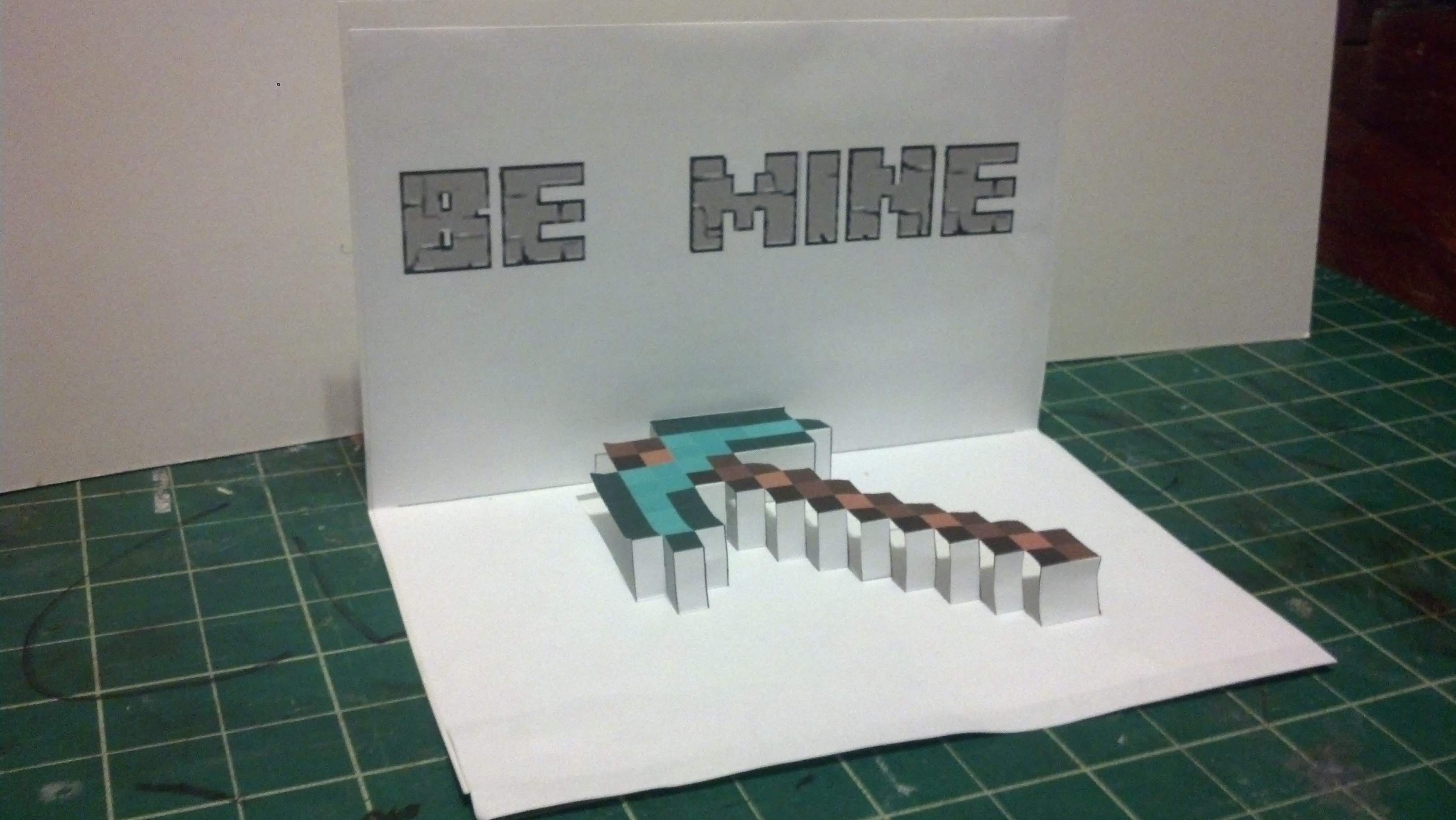 Minecraft Pick Axe Valentine Pop-up card