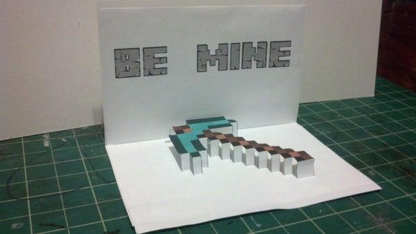 Minecraft Pick Axe Valentine Pop-up Card