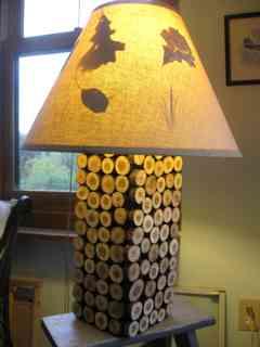 Rustic wood slice lamp
