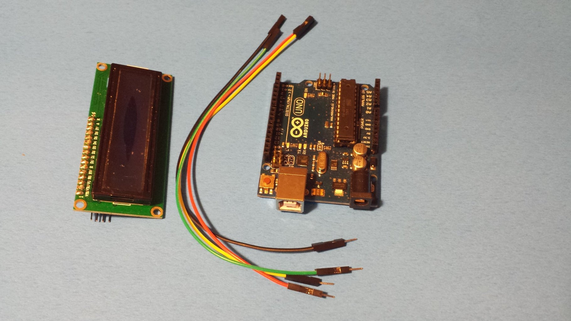 Connect the LCD, LM35 and the Arduino UNO
