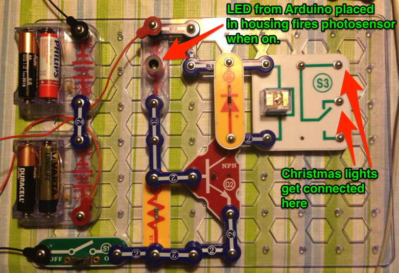 Programme a string of xmas lights to blink morse code with Arduino & Snap Circuits
