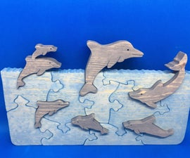 Playful Dolphin Pod Scroll Saw Puzzle