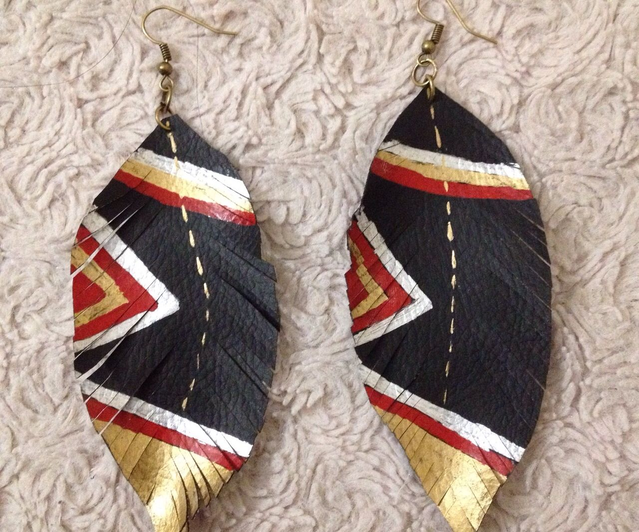 Fancy Leather (Feather) Earrings