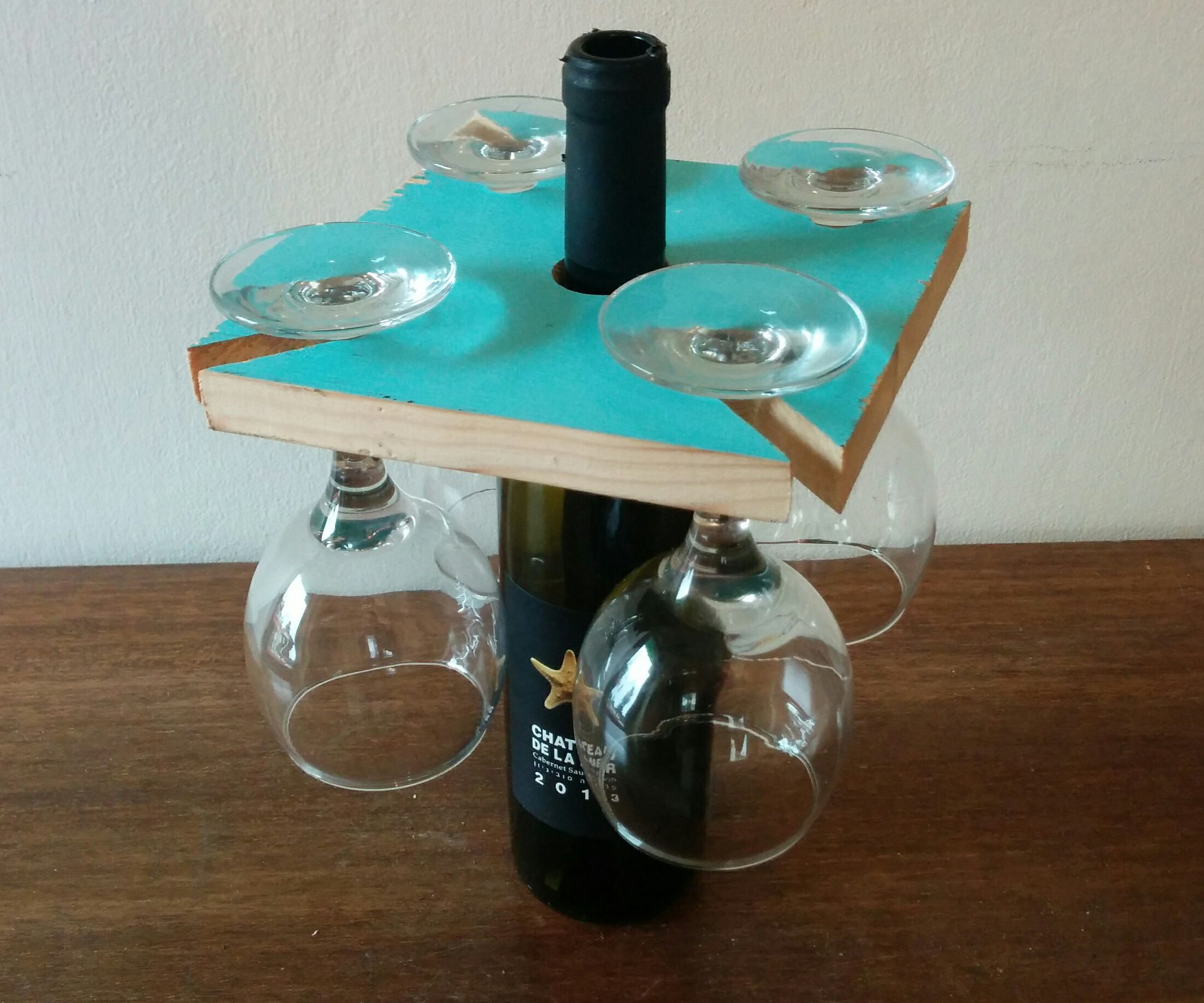 Glasses rack on wine bottle