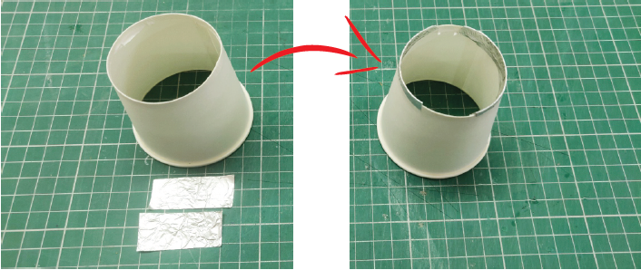 Now Take Two Aluminium Strips and Stick It on the Brim As Shown in Figure Below.
